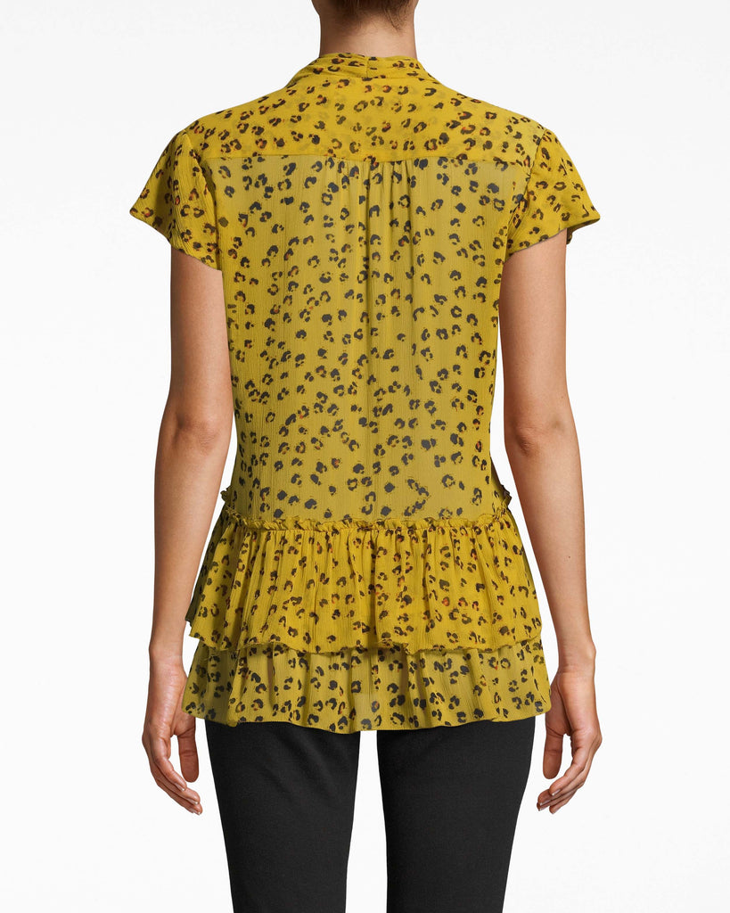 BE10405 - DITSY LEOPARD RUFFLE TIE BLOUSE - tops - blouses - THIS WEAR ANYWHERE STYLE HAS A FEMININE TIE FRONT AND RUFFLE HEMLINE. DESIGNED IN LEOPARD PRINT IN LIGHTWEIGHT SILK. Add 1 line break STYLIST TIP: WEAR WITH A DENIM SKIRT AND YOUR FAVORITE SHOES. Alternate View