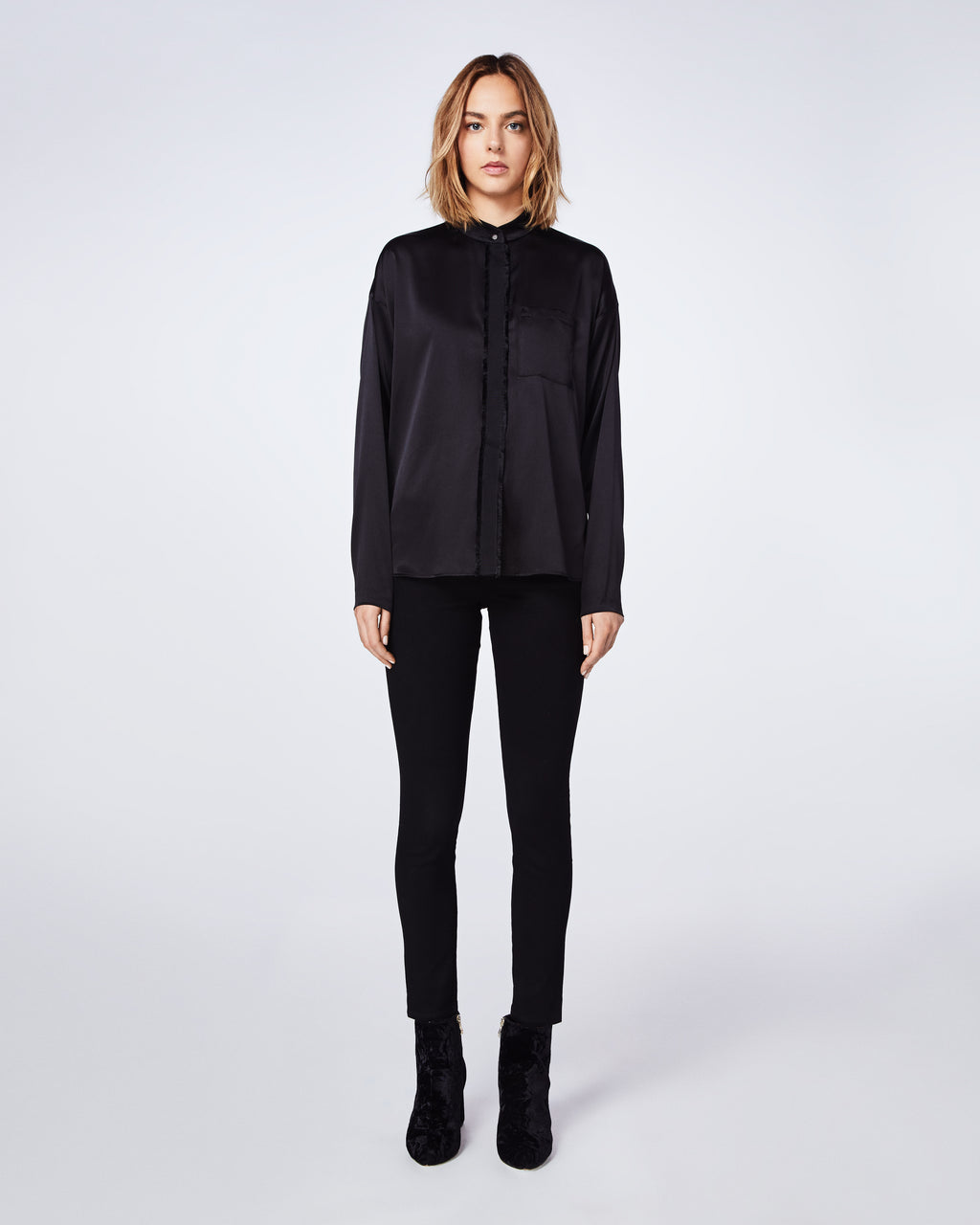 BF10350 - Stretch Charmeuse Botton Down Top - tops - blouses - This long-sleeve button down charmeuse top is a classic. Whether you wear it with jeans or dress it up with black leather pant, this style is both cool and easy to wear