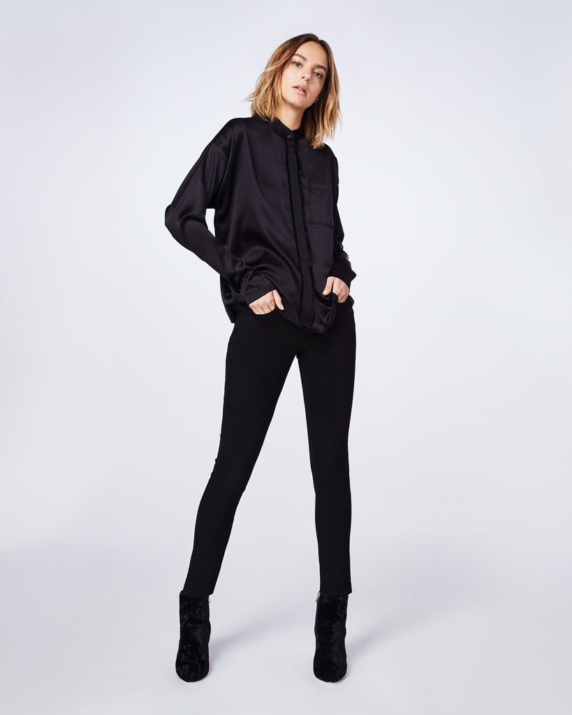 BF10350 - Stretch Charmeuse Botton Down Top - tops - blouses - This long-sleeve button down charmeuse top is a classic. Whether you wear it with jeans or dress it up with black leather pant, this style is both cool and easy to wear Alternate View