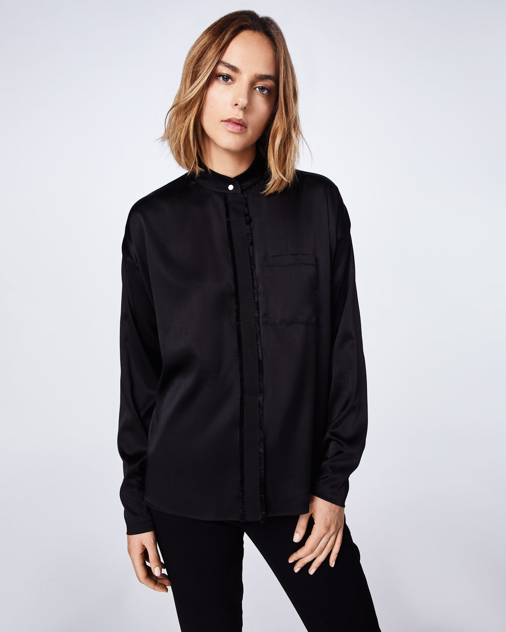BF10350 - Stretch Charmeuse Button Down Top - tops - blouses - This long-sleeve button down charmeuse top is a classic. Whether you wear it with jeans or dress it up with black leather pant, this style is both cool and easy to wear