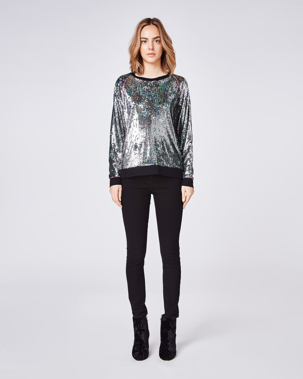 BF10355 - MERMAID SEQUIN SWEATSHIRT With PIPING - tops - shirts - Did someone say party? This crew cut sequin sweater has a relaxed fit making it dressy, but comfortable. It features pink piping detail at the sleeves for an extra detail.