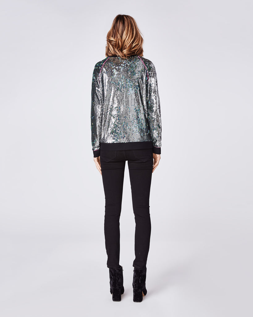 BF10355 - MERMAID SEQUIN SWEATSHIRT With PIPING - tops - shirts - Did someone say party? This crew cut sequin sweater has a relaxed fit making it dressy, but comfortable. It features pink piping detail at the sleeves for an extra detail. Alternate View