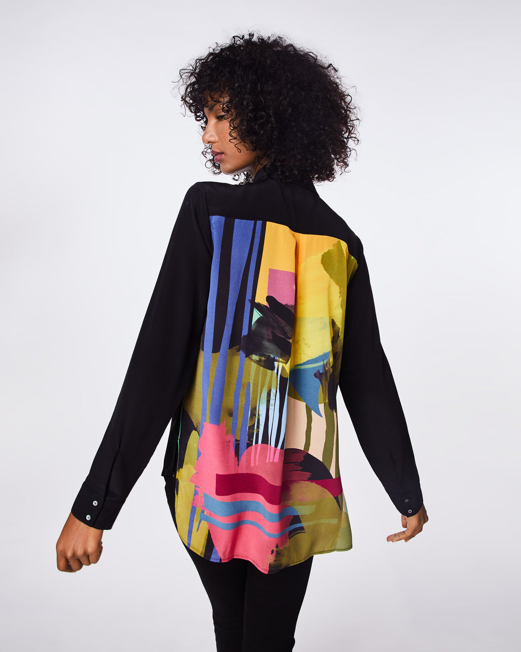 BF10364 - ABSTRACT PAINT BOYFRIEND SHIRT - tops - shirts - IN A SILK BLEND, THIS BOYFRIEND BLOUSE IS GREAT FOR LAYERING AND PAIRED BACK TO JEANS. UNLINED