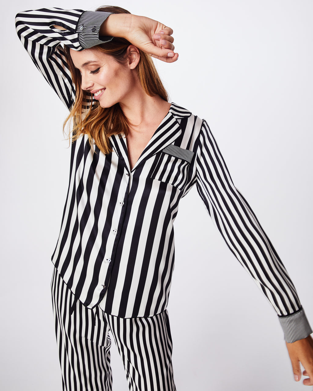 BF10368 - PAJAMA STRIPE BLOUSE - tops - blouses - A classic button down style is silky and flowly. Pair back with your favorite black or blue denim for that casual cool look.
