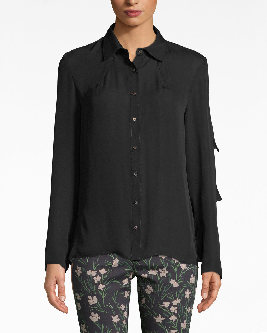 BF10387 - SOLID SILK FLOUNCE BOYFRIEND BLOUSE - tops - blouses - This blouse is full of surprises. The front has the classic bf details: front buttons, and flowy sleeves. Turn it around, and you'll see flounces of ruffles and possibilities. Lined.