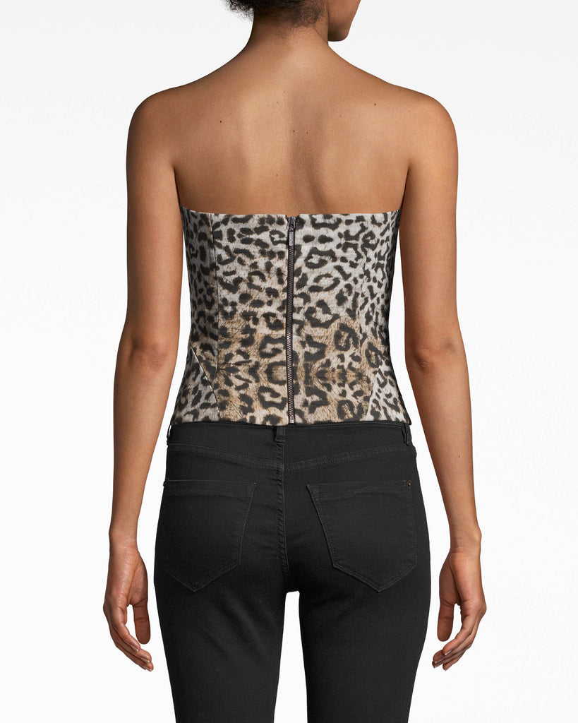 BF10394 - LEOPARD BUSTIER - tops - shirts - CRAFTED IN OUR SIGNATURE COTTON METAL INTO A FITTED BUSTIER, THIS LEOPARD TOP IS FLATTERING AND FUN. WEAR OVER A WHITE T-SHIRT FOR A DAY TIME LOOK OR WEAR SOLO FOR NIGHTS OUT. EXPOSED BACK ZIPPER FOR CLOSURE. Alternate View