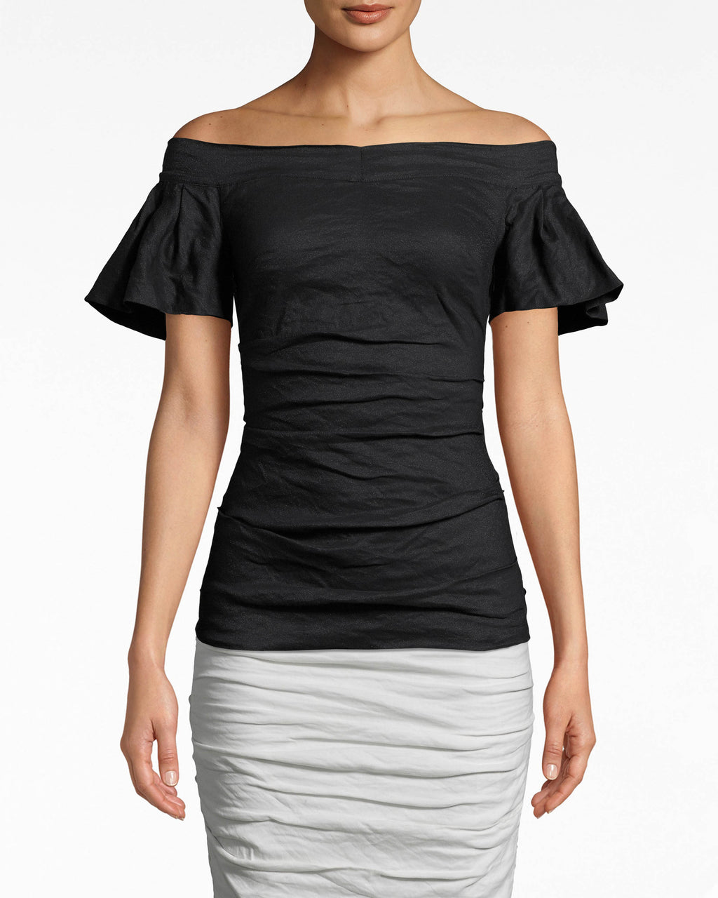 BF10399 - SOLID COTTON METAL OFF THE SHOULDER TOP - tops - shirts - DESIGNED IN OUR ICONIC COTTON METAL, THIS FITTED OFF THE SHOULDER TOP IS A CLOSET STAPLE THAT WILL BE ON REPEAT ALL SPRING LONG. FEATURING 3/4 FLARED SLEEVES AND A FLATTERING RUCHED BODY. FULLY LINE D AND EXPOSED BACK ZIPPER FOR CLOSURE.