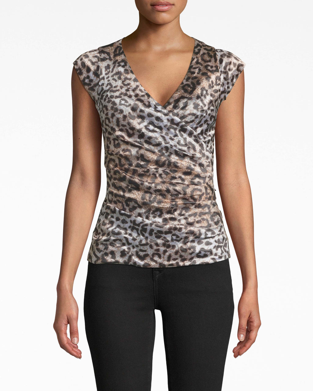 BF20053 - NYC LEOPARD TECHNO METAL LOGAN TOP - tops - blouses - Textured fabric gathering, a deep v-neck, and short cap sleeves make this leopard blouse a standout. The back zipper extends all the way to the back neckline.