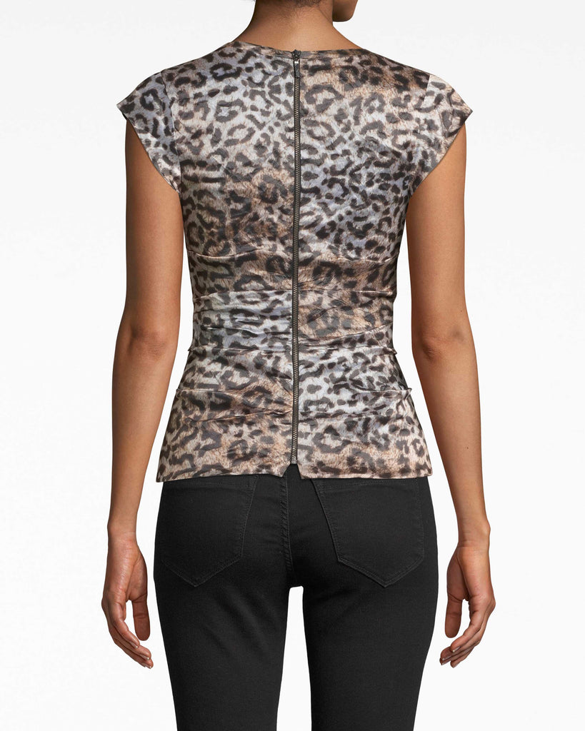 BF20053 - NYC LEOPARD TECHNO METAL LOGAN TOP - tops - blouses - Textured fabric gathering, a deep v-neck, and short cap sleeves make this leopard blouse a standout. The back zipper extends all the way to the back neckline. Alternate View