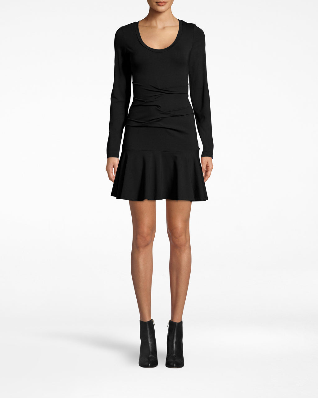 BF20069 - JERSEY TIDAL PLEAT FLARE DRESS - dresses - short - This jersey long sleeve dress features a subtle flare at the hem, as well as slight, textured fabric gathering around the waist. Pair with heels and elevate with a leather jacket.