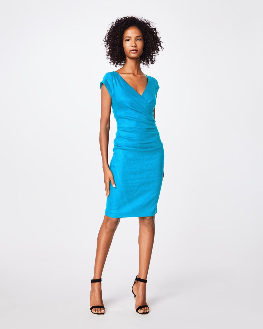 "BG10174 - STRETCH LINEN ""BECKETT"" V-NECK CAP SLV WRAP DRESS - dresses - short - Keep staring. A deep v-neck adds a modern dimension to this short sleeve wrap dress that highlights your waist. The hem hits just above the knees. Exposed back zipper for closure."