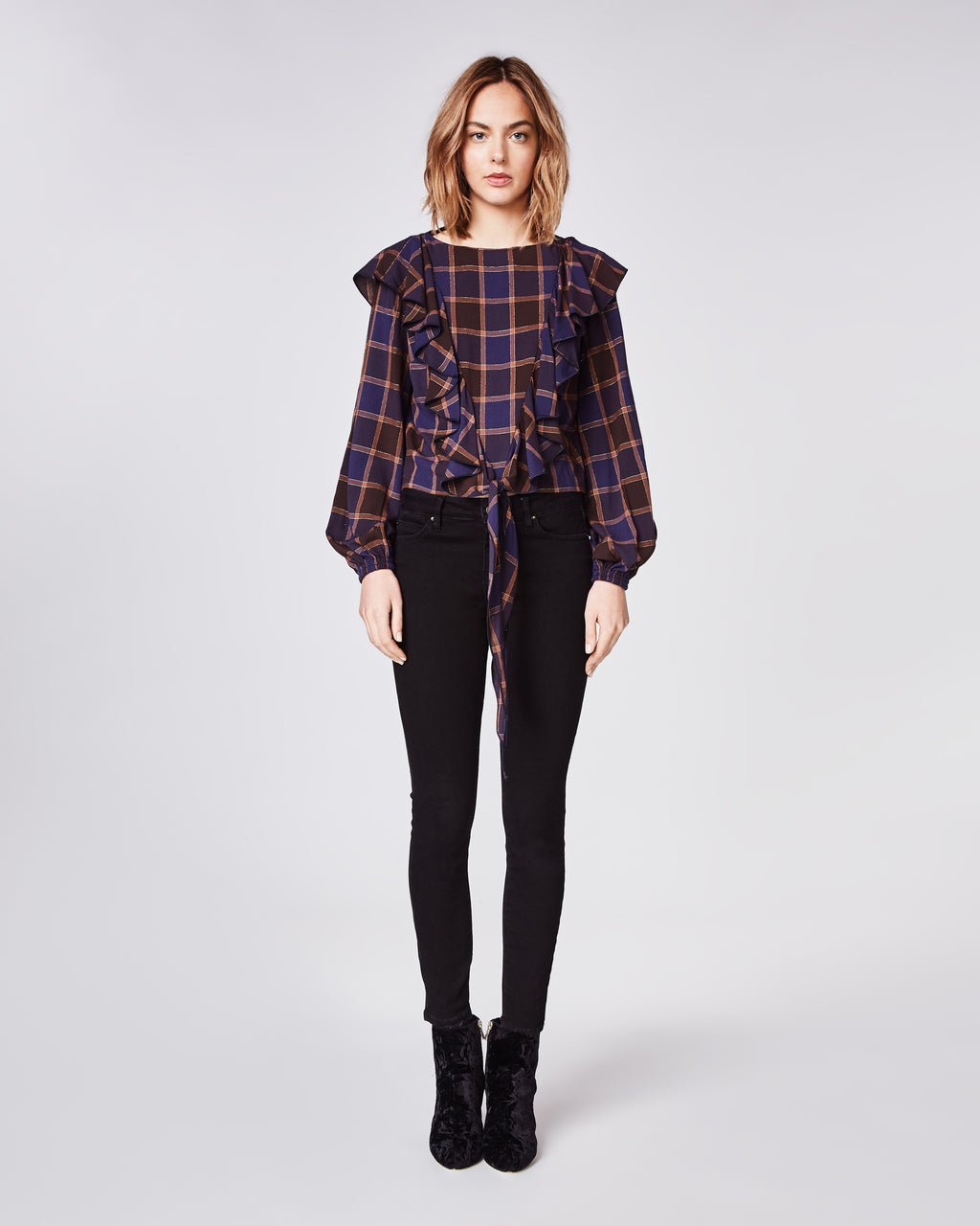 BG10300 - BOYFRIEND PLAID LONGSLEEVE RUFFLE BLOUSE - tops - blouses - The perfect update to the classic plaid top. Featuring a ruffle accent and tie-waist, you will want to wear this top everyday this Fall. Unlined.