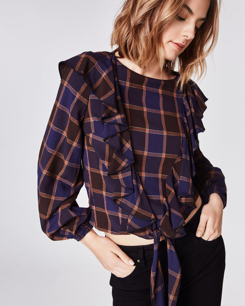 BG10300 - BOYFRIEND PLAID LONGSLEEVE RUFFLE BLOUSE - tops - blouses - The perfect update to the classic plaid top. Featuring a ruffle accent and tie-waist, you will want to wear this top everyday this Fall. Unlined. Final Sale Alternate View