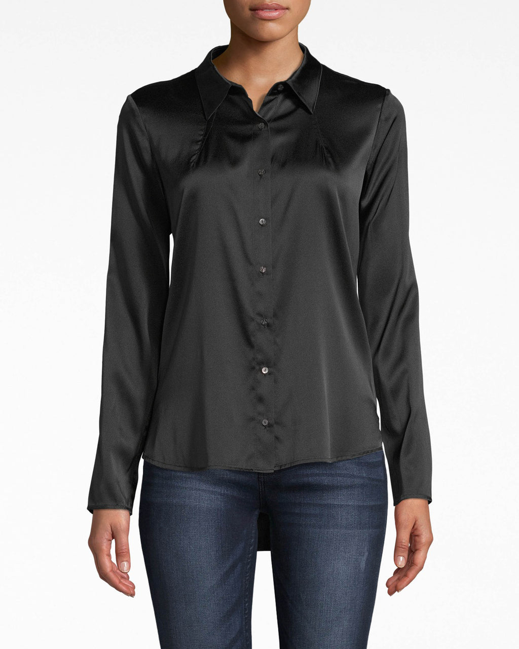 BG10305 - STRETCH CHARMEUSE BOYFRIEND SHIRT - tops - blouses - Add to your boyfriend shirt collection. This one comes in a rich stretch charmeuse that looks like it's glistening. Exposed buttons for closure.