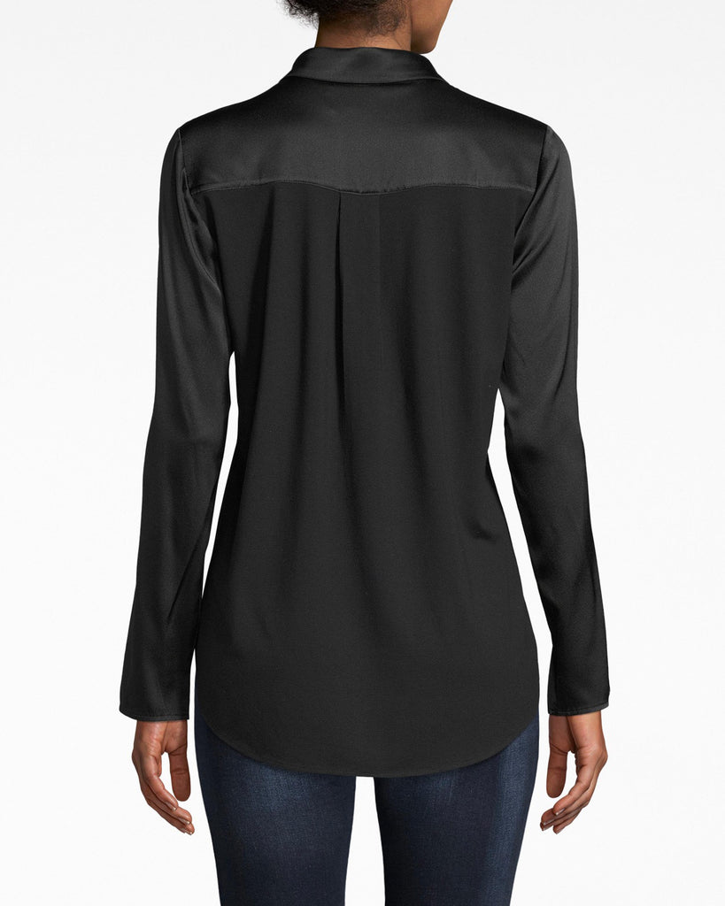 BG10305 - STRETCH CHARMEUSE BOYFRIEND SHIRT - tops - blouses - Add to your boyfriend shirt collection. This one comes in a rich stretch charmeuse that looks like it's glistening. Exposed buttons for closure. Alternate View