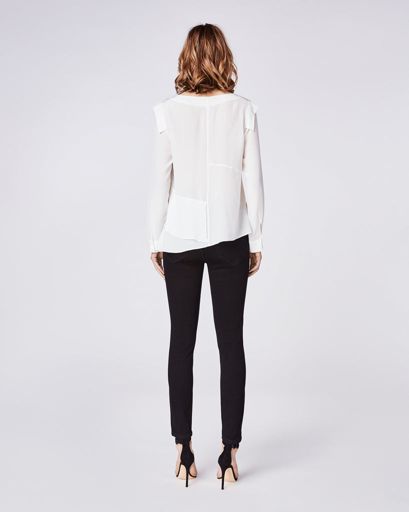 BG10307 - SILK ASYMMETRICAL TOP - tops - blouses - Wheather your dressing for work or for the weekend, style this asymmetrical, silk top with denim and a stacked heel or sneaker. Front lined only. Alternate View