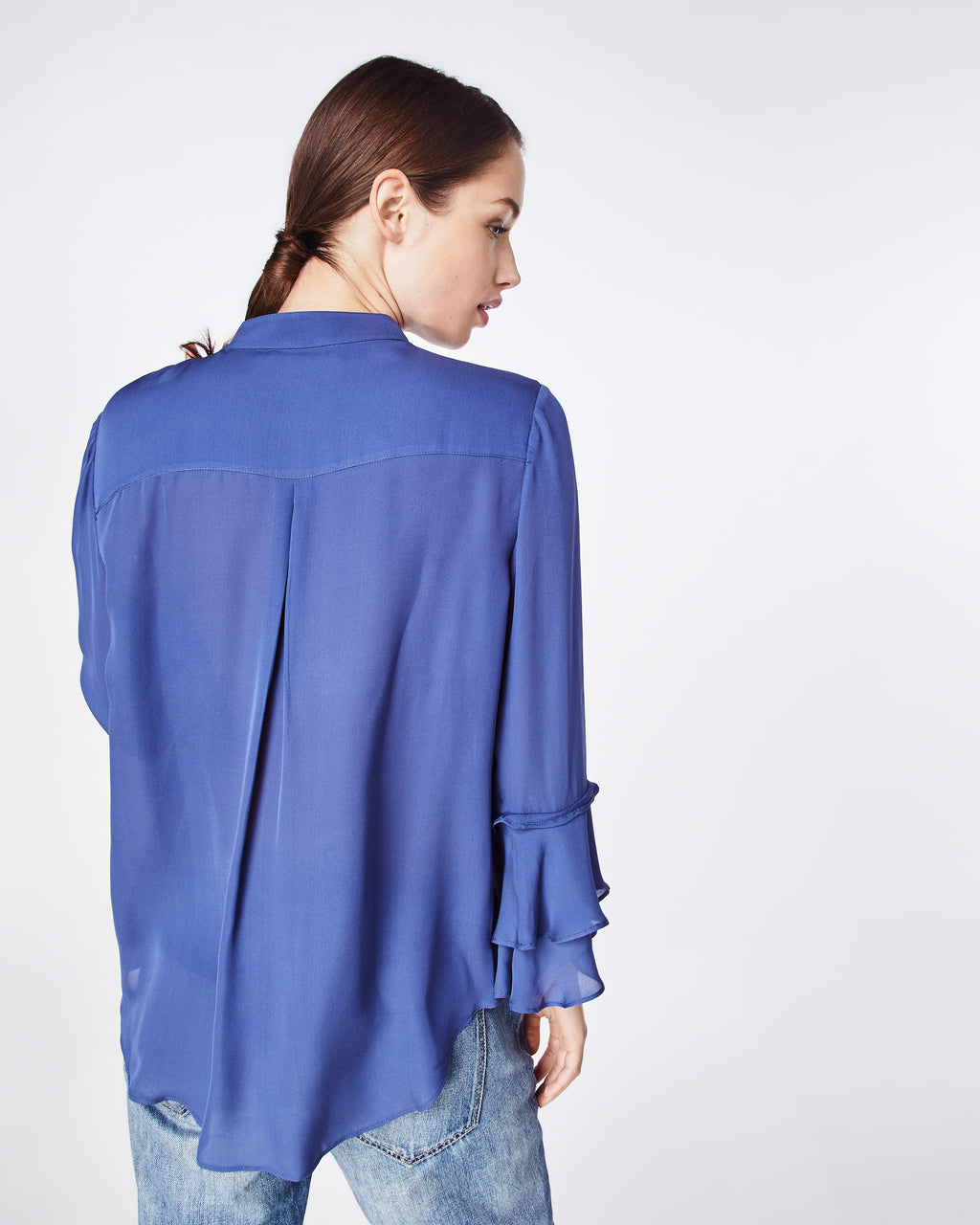 BG10320 - SOLID SILK BLEND RUFFLE SLEEVE BLOUSE - tops - blouses - A CLASSIC SILK BLEND SHEER BLOUSE THAT FEATURES A RUFFLES ON THE SLEEVES. EASY TO WEAR TO WORK OR ON THE WEEKEND.