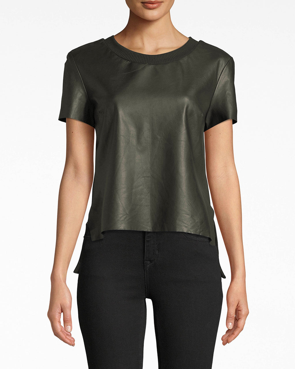 BG10336 - LEATHER T-SHIRT - tops - shirts - Leather goes a long way. This short sleeve top is crafted with our luxurious leather and cooling cotton. The double-fabric creates a double mood: rebellious and understated.