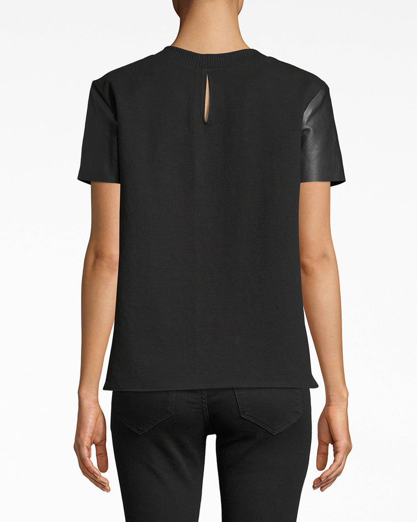 BG10336 - LEATHER T-SHIRT - tops - shirts - Leather goes a long way. This short sleeve top is crafted with our luxurious leather and cooling cotton. The double-fabric creates a double mood: rebellious and understated. Alternate View