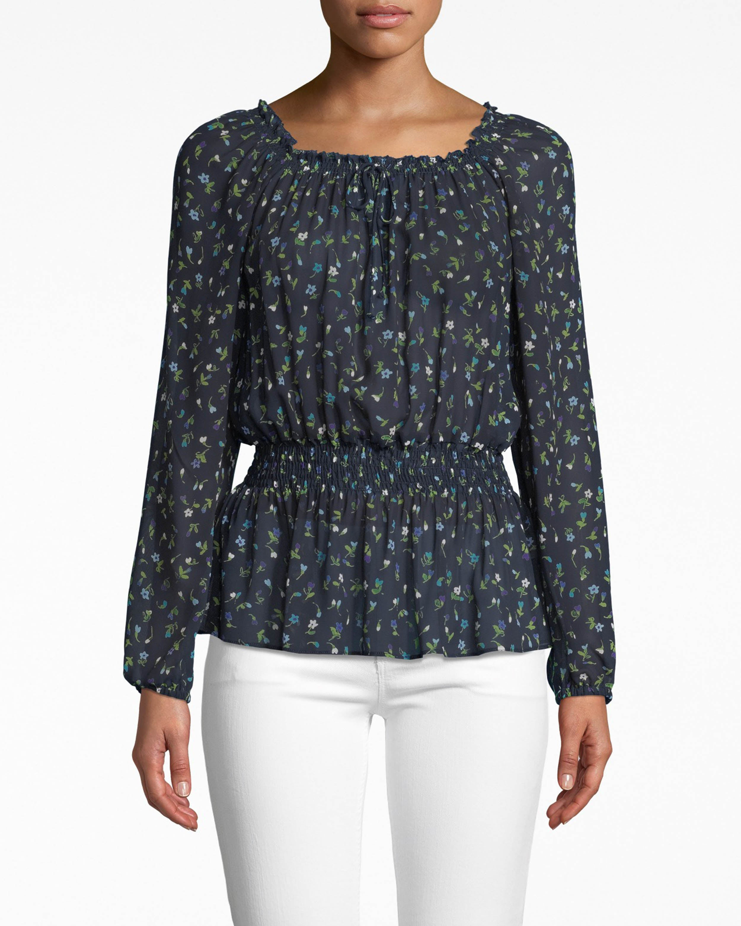 nicole miller ditsy floral long sleeve smocked blouse in ditsy floral blue | silk/viscose/leather | size petite