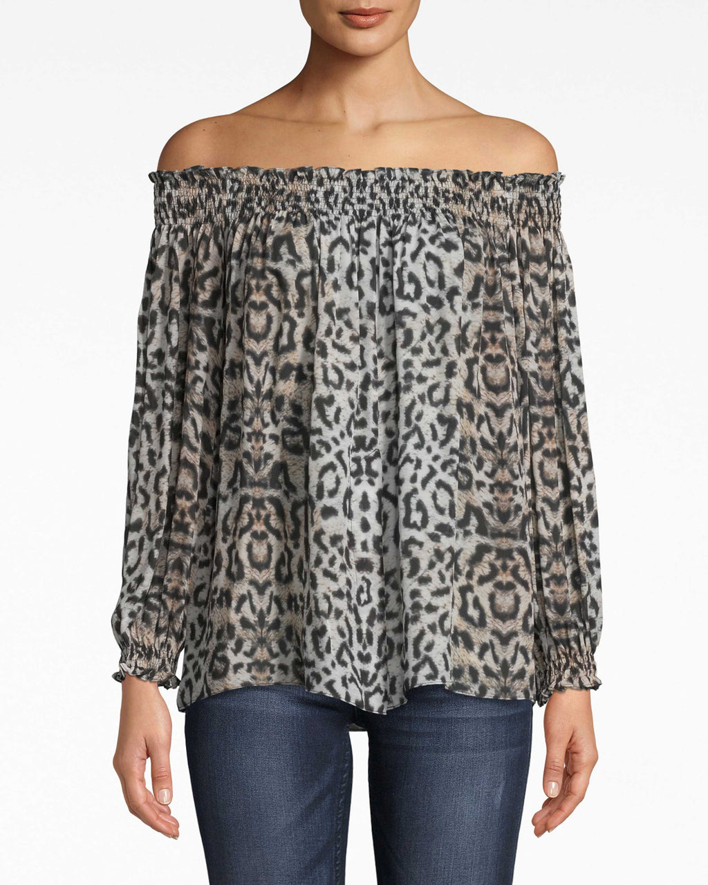 "BG10339 - LEOPARD ""ROCKY"" SMOCKED OFF THE SHOULDER TOP - tops - shirts - OUR CLASSIC ROCKY TOP GETS AN UPDATE IN LEOPARD PRINT. THIS TOP IS SMOCKED OFF THE SHOULDER AND FEATURES BILLOWY SLEEVES THAT CINCH AT THE WRIST. WE KNOW YOU'LL BE REACHING FOR THIS LIGHTWEIGHT TOP ALL SPRING AND SUMMER LONG."