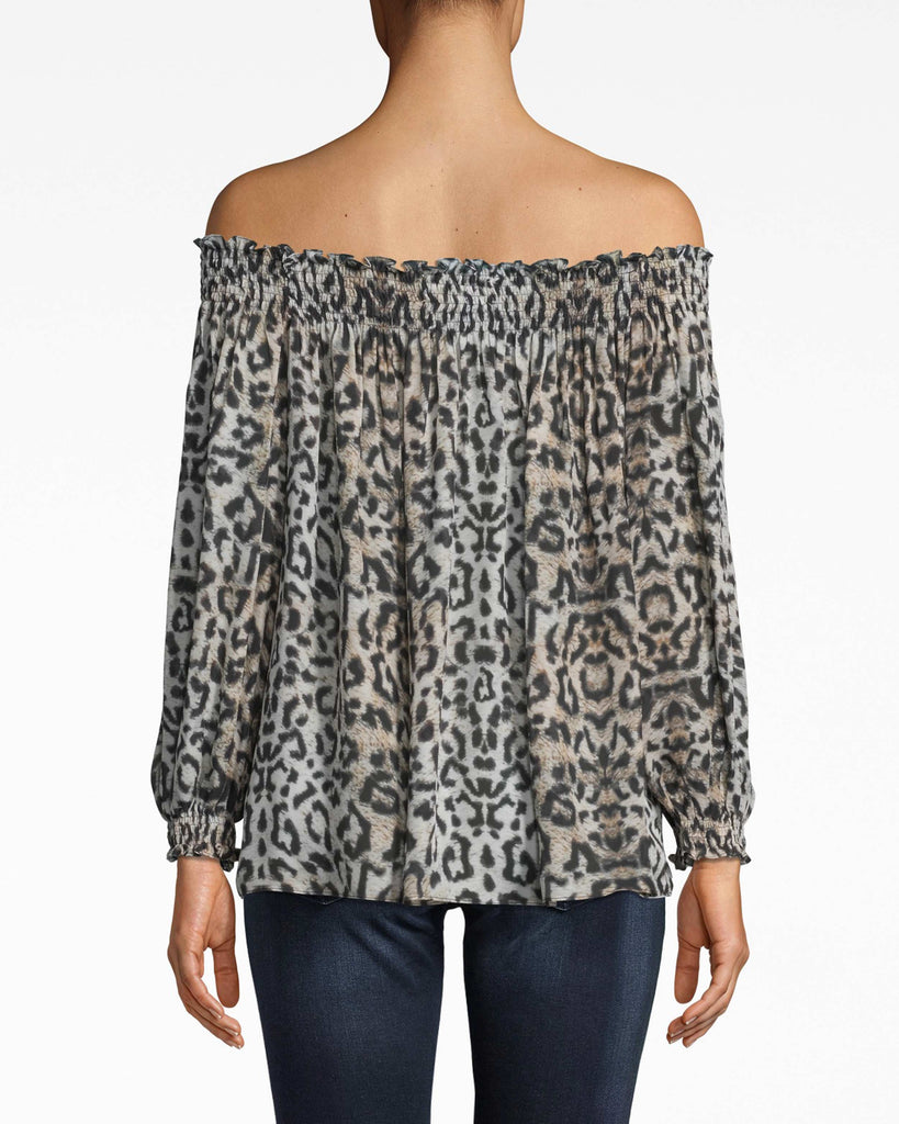 "BG10339 - LEOPARD ""ROCKY"" SMOCKED OFF THE SHOULDER TOP - tops - shirts - OUR CLASSIC ROCKY TOP GETS AN UPDATE IN LEOPARD PRINT. THIS TOP IS SMOCKED OFF THE SHOULDER AND FEATURES BILLOWY SLEEVES THAT CINCH AT THE WRIST. WE KNOW YOU'LL BE REACHING FOR THIS LIGHTWEIGHT TOP ALL SPRING AND SUMMER LONG. Alternate View"