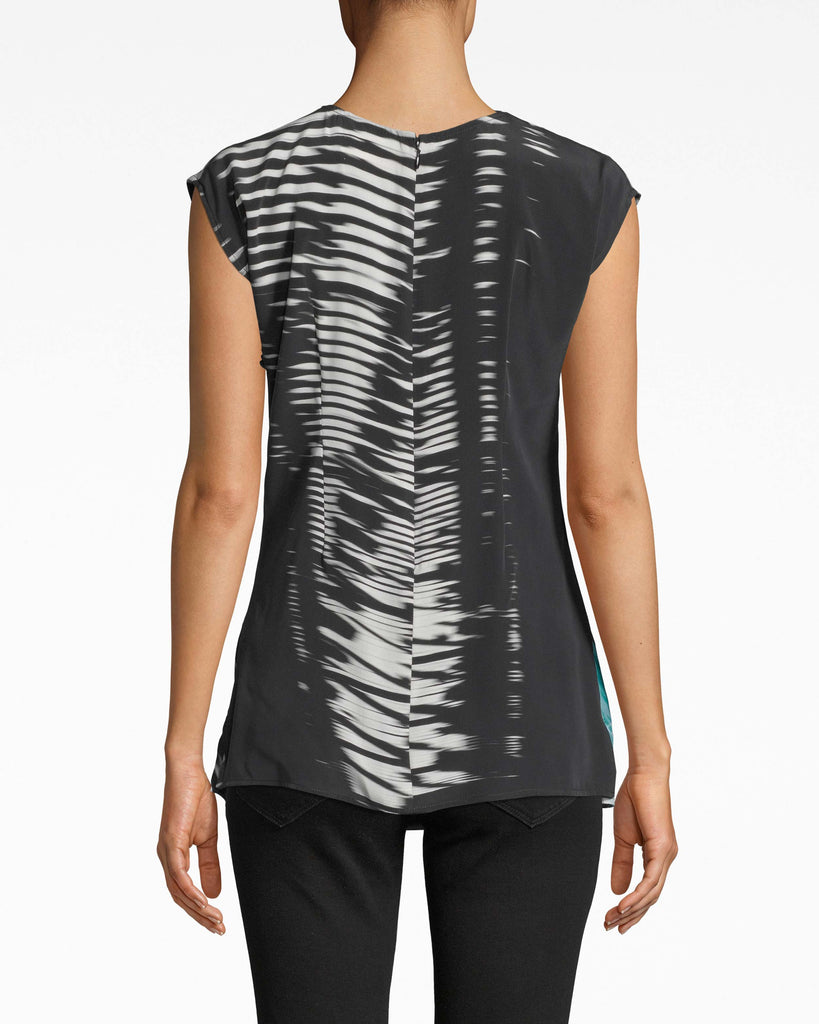 BG10341 - SHOJI STRIPE BUTTON LOOP BLOUSE - tops - blouses - DESIGNED IN OUR NEW SHOJI STRIPE PATTERN, THIS LIGHTWEIGHT BLOUSE FEATURES BUTTON DETAILING AND A SLIGHT V-NECK. STYLE WITH A LEATHER JACKET LIKE WE DID ON THE SPRING/SUMMER 2020 RUNWAY FOR A LAIDBACK LOOK. PATTERN ON THE BACK MAY VARY. Alternate View