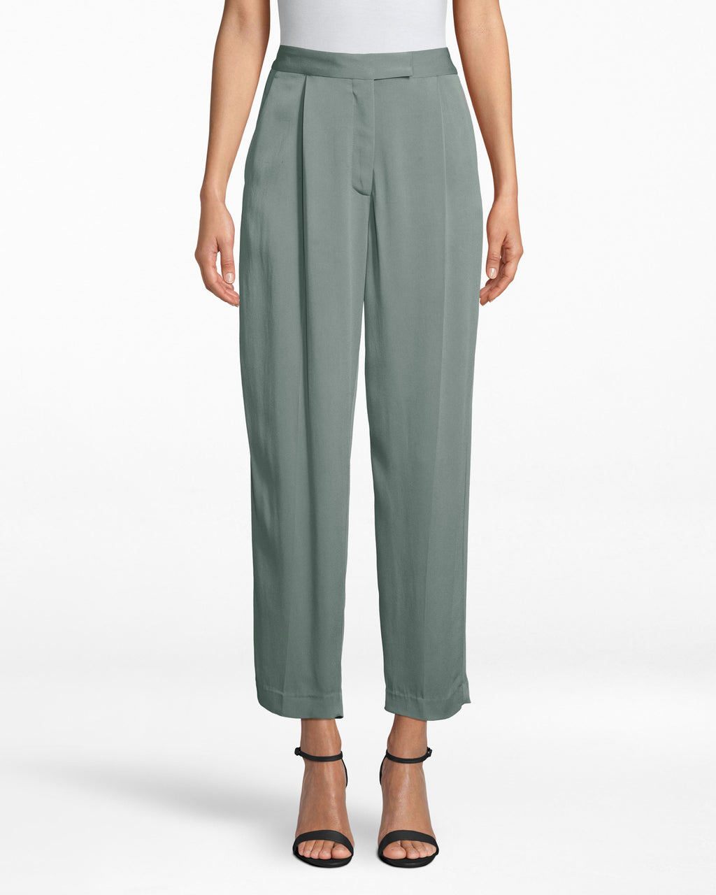 BG10342 - SATIN BACK CREPE TROUSER PANT - bottoms - pants - THESE TAILORED PANTS ARE MADE FROM LIGHTWEIGHT FABRIC AND HIT JUST ABOVE THE ANKLE. WE LOVE PAIRING THEM WITH THE MATCHING JACKET FOR A MONOCHROMATIC LOOK. ZIPPER AND BUTTON FOR CLOSURE.