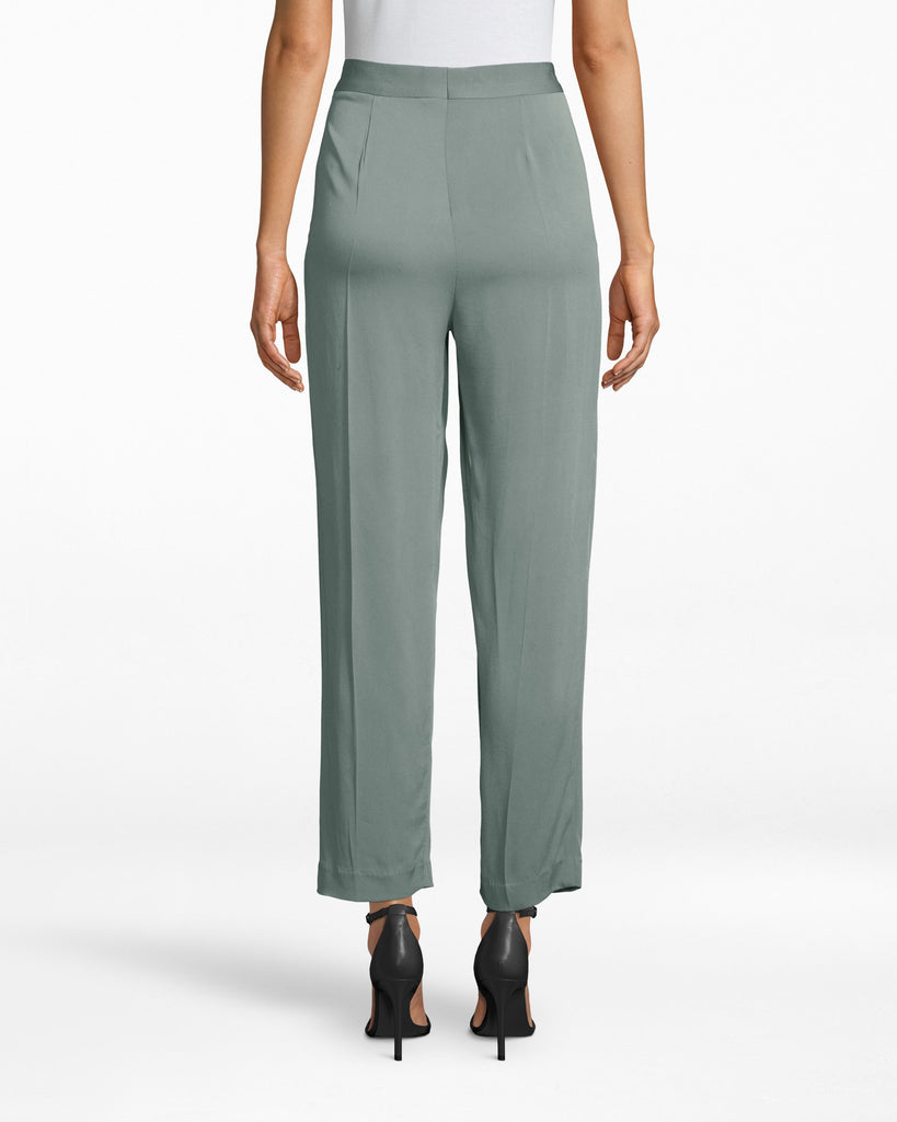 BG10342 - SATIN BACK CREPE TROUSER PANT - bottoms - pants - THESE TAILORED PANTS ARE MADE FROM LIGHTWEIGHT FABRIC AND HIT JUST ABOVE THE ANKLE. WE LOVE PAIRING THEM WITH THE MATCHING JACKET FOR A MONOCHROMATIC LOOK. ZIPPER AND BUTTON FOR CLOSURE. Alternate View