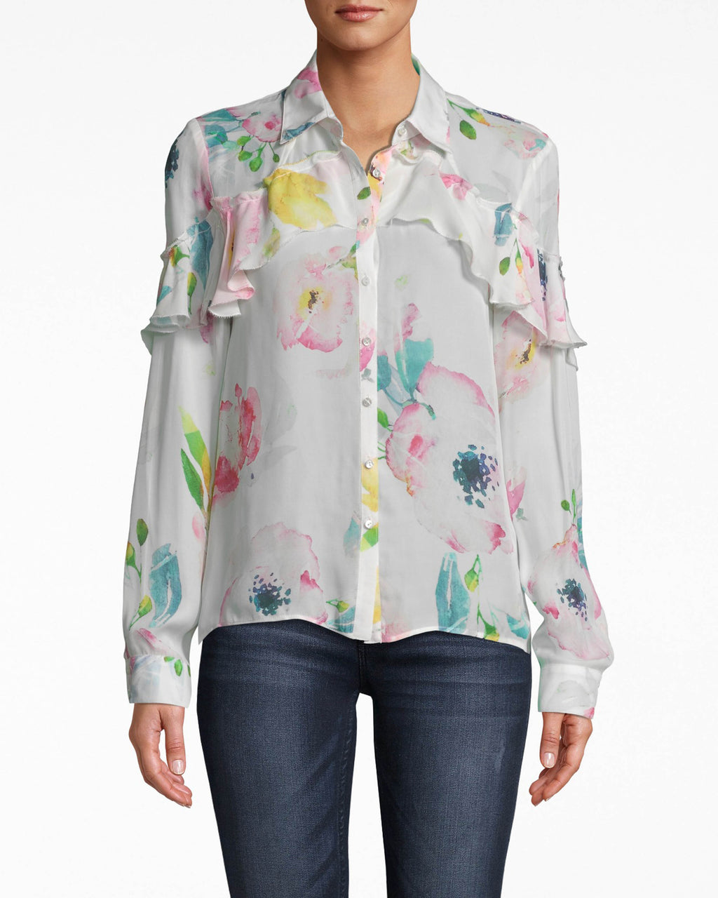 BG10344 - LA FLEUR SILK BOYFRIEND BLOUSE - tops - blouses - DEFINITELY NOT YOUR BOYFRIENDS BLOUSE. THIS BUTTON UP STYLE HAS RUFFLE DETAILS AND IS MADE FROM AIRY SILK. Add 1 line break STYLIST TIP: WEAR JEANS AND CHUNKY WEDGES.