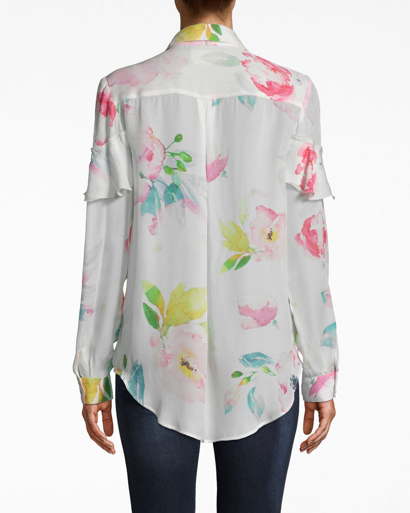 BG10344 - LA FLEUR SILK BOYFRIEND BLOUSE - tops - blouses - DEFINITELY NOT YOUR BOYFRIENDS BLOUSE. THIS BUTTON UP STYLE HAS RUFFLE DETAILS AND IS MADE FROM AIRY SILK. Add 1 line break STYLIST TIP: WEAR JEANS AND CHUNKY WEDGES. Alternate View