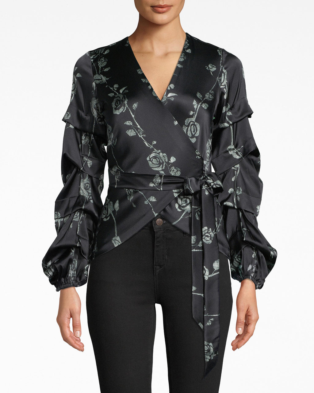 BG20013 - WRAP BLOUSE WITH TIDAL PLEATS - tops - blouses - The wrap blouse: reimagined for the season. Structured sleeves are eye-popping complements to the fitted bodice. A draping tie cinches the waist and hits the upper thigh. Pair with denim and stun.
