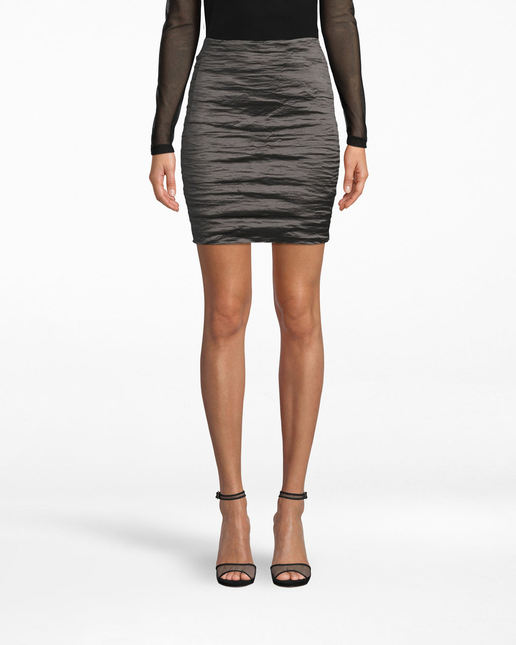 "BH10007 - TECHNO METAL MINI SKIRT - bottoms - skirts - Kick it. Our Techno Metal Mini Skirt features the signature textured, ""shiny"" appearance that makes it look so elegant. The back zipper is exposed and the hem falls above the knee."