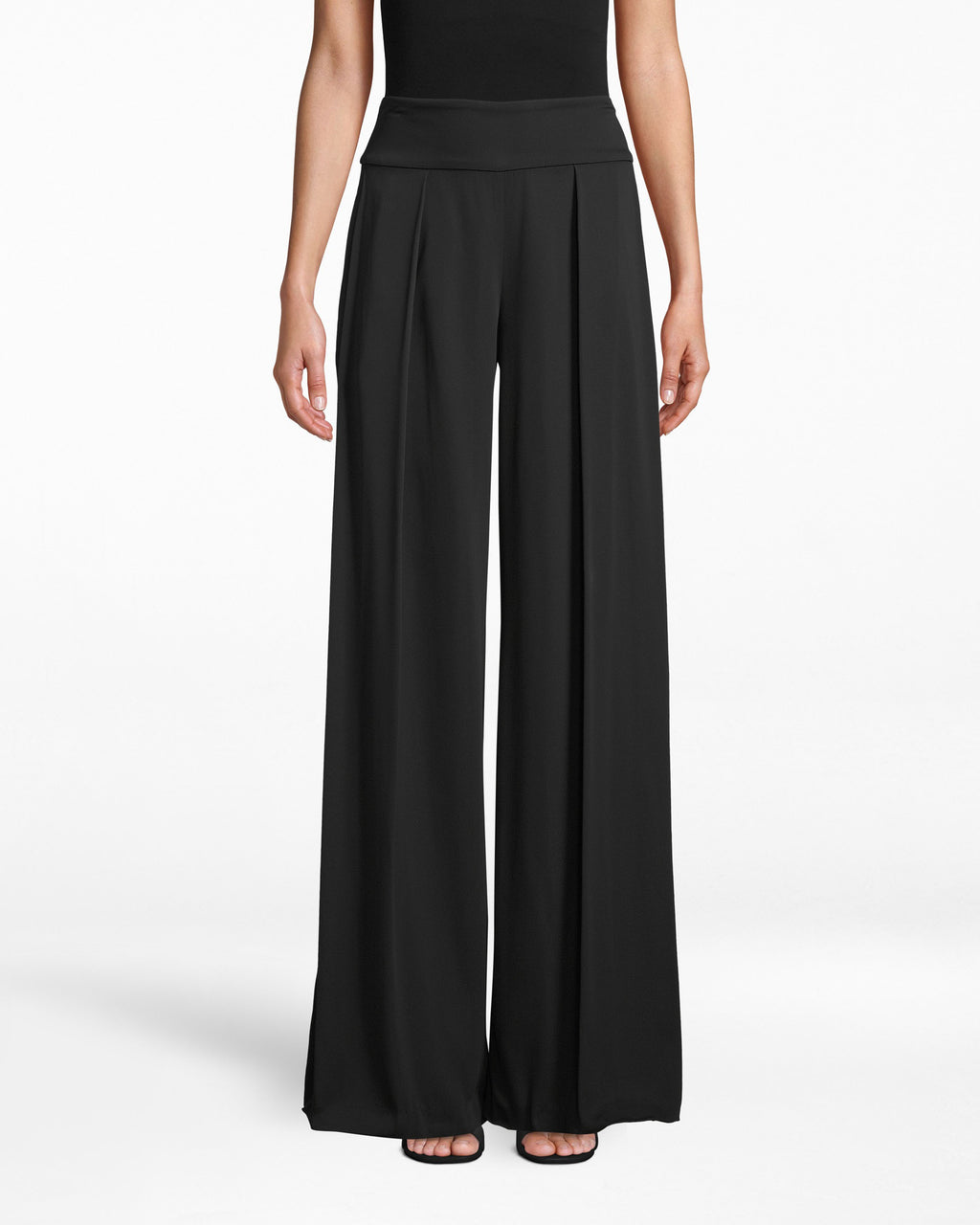 "BH10065 - NEW STRETCH CREPE ""SKYSCRAPER"" PLEAT PANTS - bottoms - pants - Like a skyscraper. Take these lengthening pants to the office and after-party - they feature minimal pleating and hit below the ankle."
