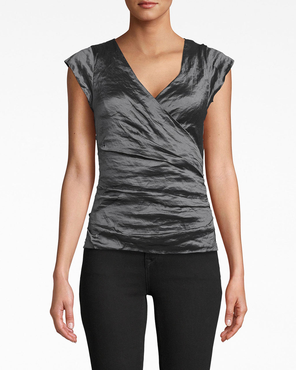 BH10101 - LOGAN TECHNO METAL V-NECK TOP - tops - shirts - The chic v-neck on this textured cap sleeve top opens up your frame. It's perfect for a denim and leather look. Exposed back zipper for closure.