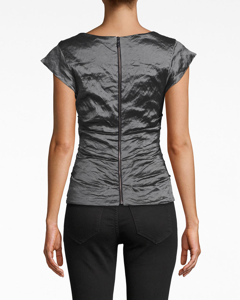 BH10101 - LOGAN TECHNO METAL V-NECK TOP - tops - shirts - The chic v-neck on this textured cap sleeve top opens up your frame. It's perfect for a denim and leather look. Exposed back zipper for closure. Alternate View