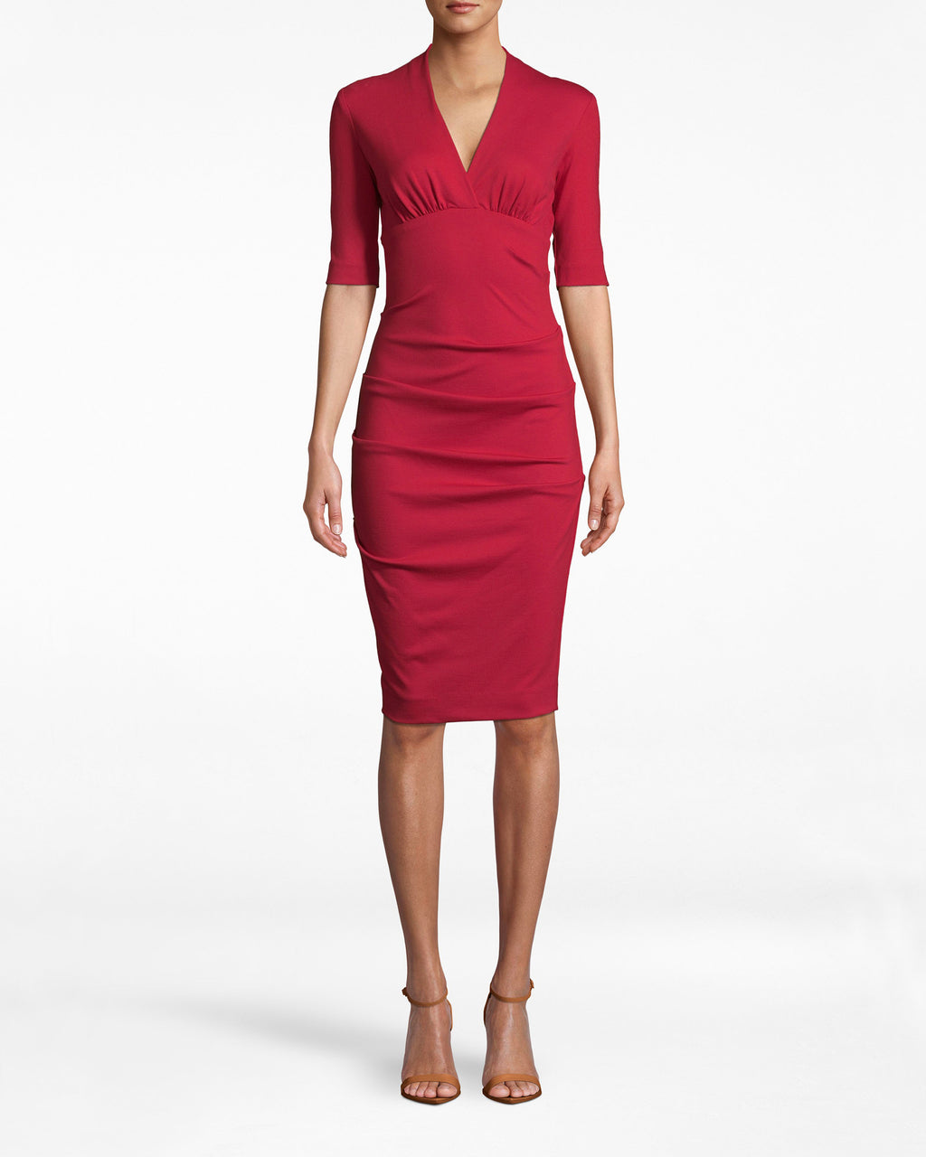 BH10200 - PONTE SOLID PONTE DRESS - dresses - midi - Office upgrade. This 3/4 sleeve dress emphasizes your bodice with its deep v neck and collared neckline. The ruched skirt adds a note of sexy to a staple silhouette. Exposed back zipper for closure.