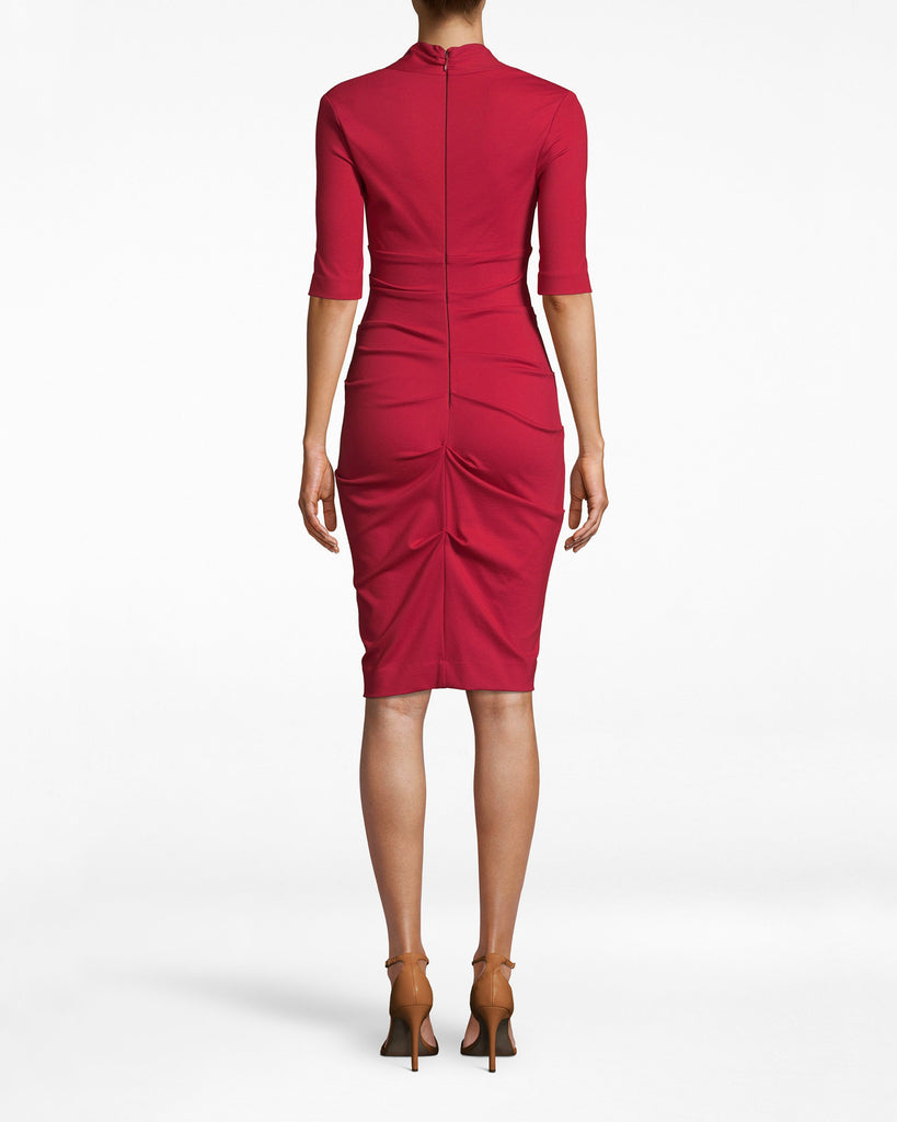 BH10200 - PONTE SOLID PONTE DRESS - dresses - midi - Office upgrade. This 3/4 sleeve dress emphasizes your bodice with its deep v neck and collared neckline. The ruched skirt adds a note of sexy to a staple silhouette. Exposed back zipper for closure. Alternate View