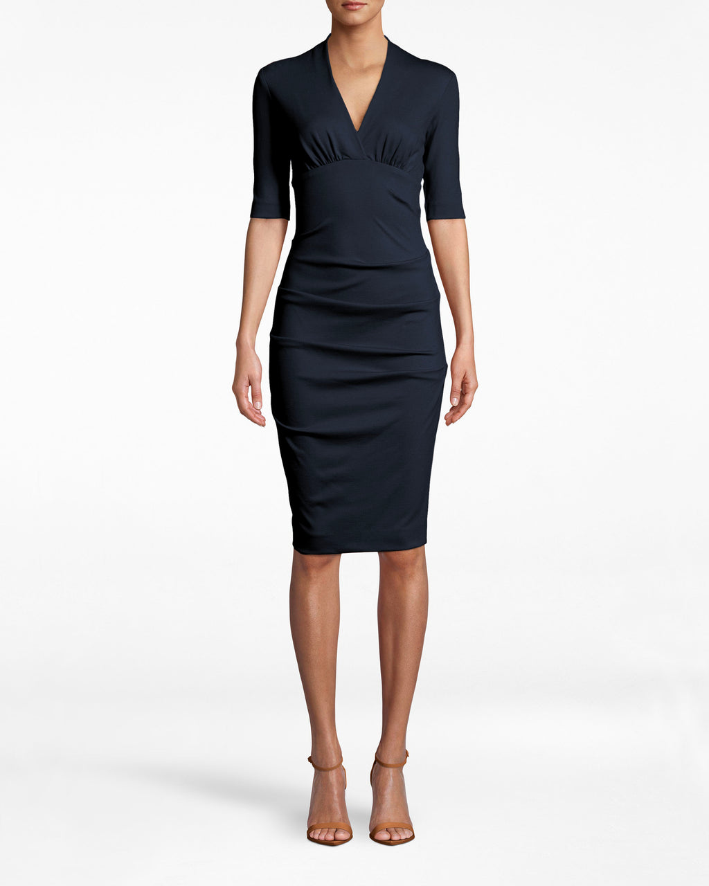 BH10200 - Solid Ponte Dress - dresses - midi - Office upgrade. This 3/4 sleeve dress emphasizes your bodice with its deep v neck and collared neckline. The ruched skirt adds a note of sexy to a staple silhouette. Exposed back zipper for closure.