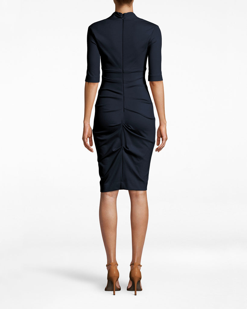 BH10200 - Solid Ponte Dress - dresses - midi - Office upgrade. This 3/4 sleeve dress emphasizes your bodice with its deep v neck and collared neckline. The ruched skirt adds a note of sexy to a staple silhouette. Exposed back zipper for closure. Alternate View