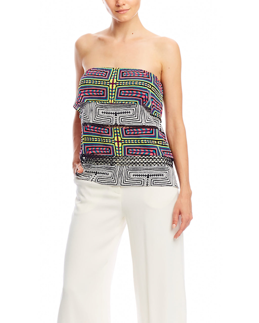 BH10215 - MOLA MAZE COMBO STRAPLESS TOP - samples - tops - Fashion labyrinth. This strapless top is an easy choice for a rooftop party or summer lunch. Pair with our Mola Maze Combo Pencil Skirt. Back zipper for closure. Final Sale