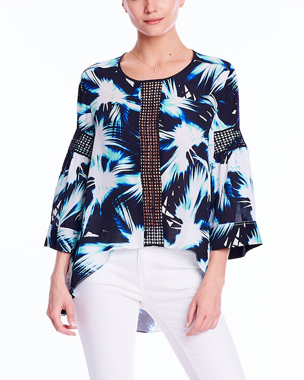 BH10234 - FAN BURST PRINT HI-LO TRIM SHIRT - samples - tops - Vaca-ready. This hi-lo shirt has breezy long sleeves and a print that will whisk you straight to the islands. Embroidered center detail. Final Sale