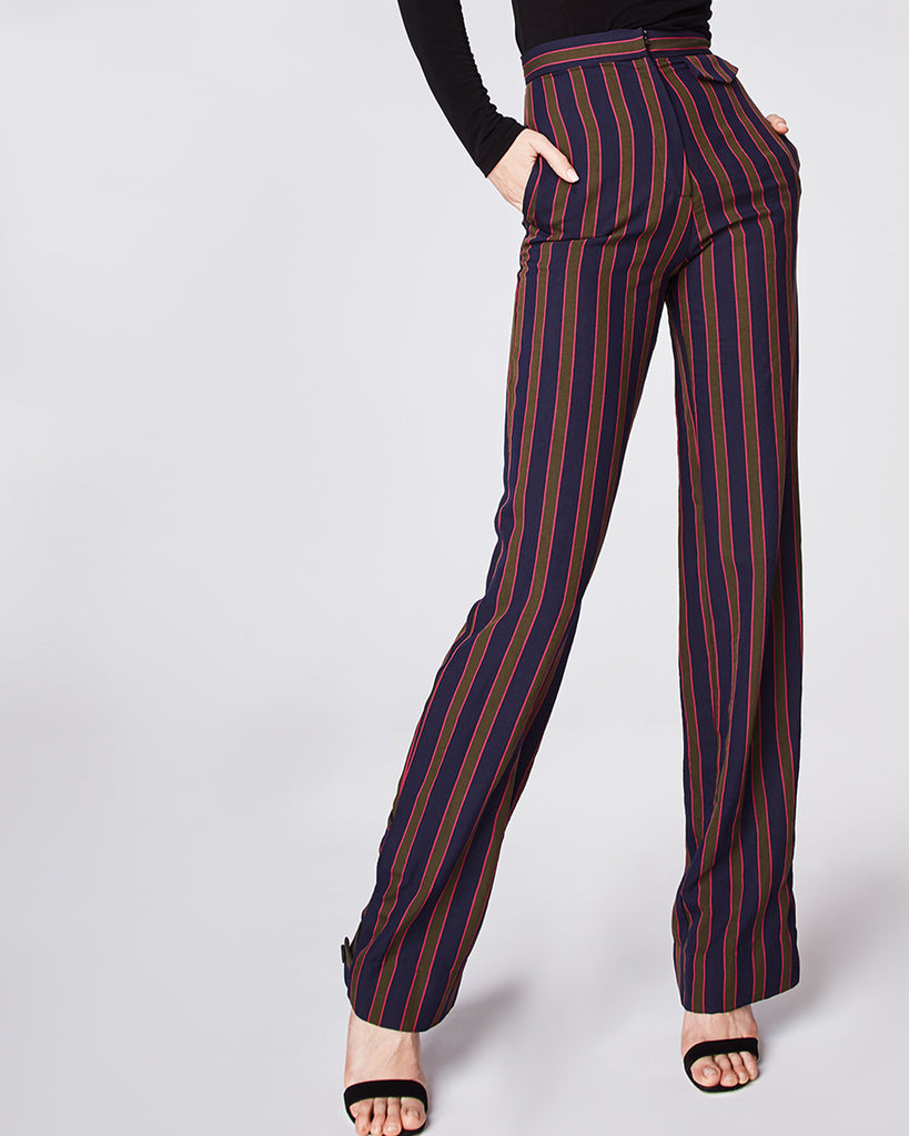 BH10348 - EARHART STRIPE HIGH WAISTED PANT - bottoms - pants - In a high waisted silhouette, these straight leg pants feature a triple-button cuff. Finished with a zipper for closure and fully lined.� Alternate View