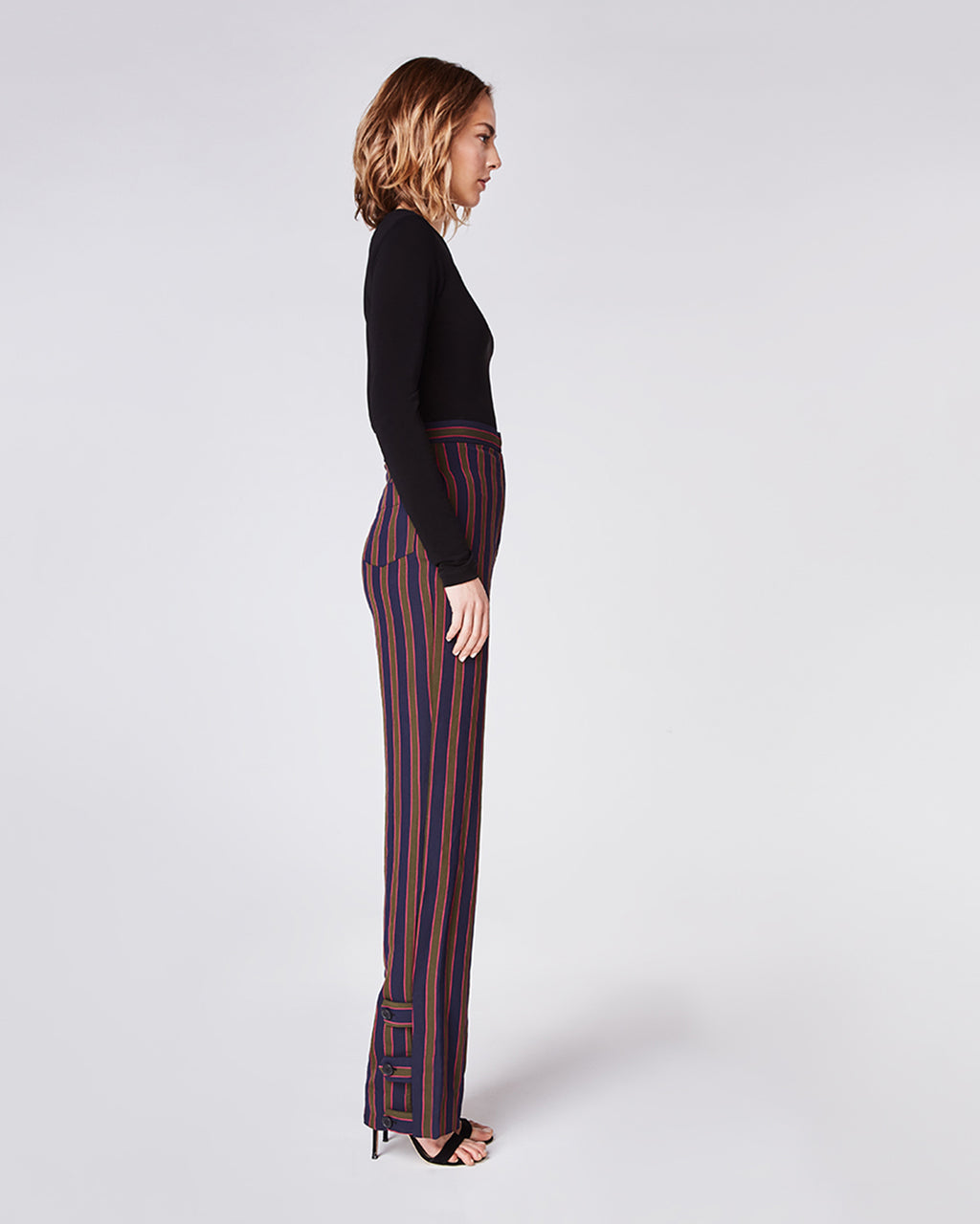 BH10348 - EARHART STRIPE HIGH WAISTED PANT - bottoms - pants - In a high waisted silhouette, these straight leg pants feature a triple-button cuff. Finished with a zipper for closure and fully lined.�