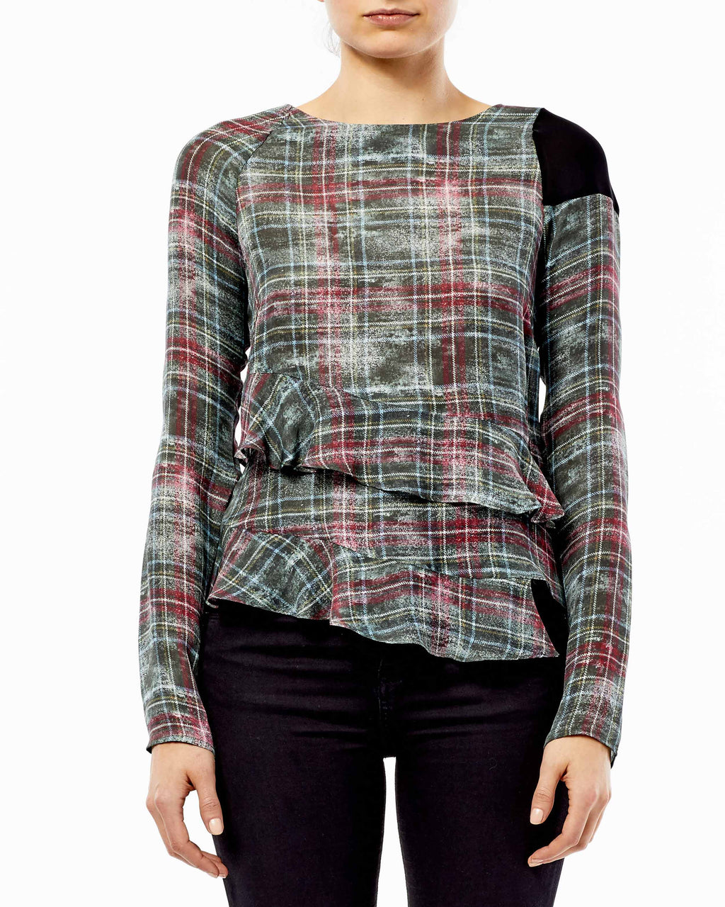 BH10371 - WEATHERED PLAID ASYMM RUFFLE BLOUSE - samples - tops - Think asymmetrically. This plaid blouse creates a contrasting shape with a boat neck and asymmetrical hem. The left sleeve has a black patch detail. Pair with dress pants for the office or denim for a casual afternoon. Final Sale