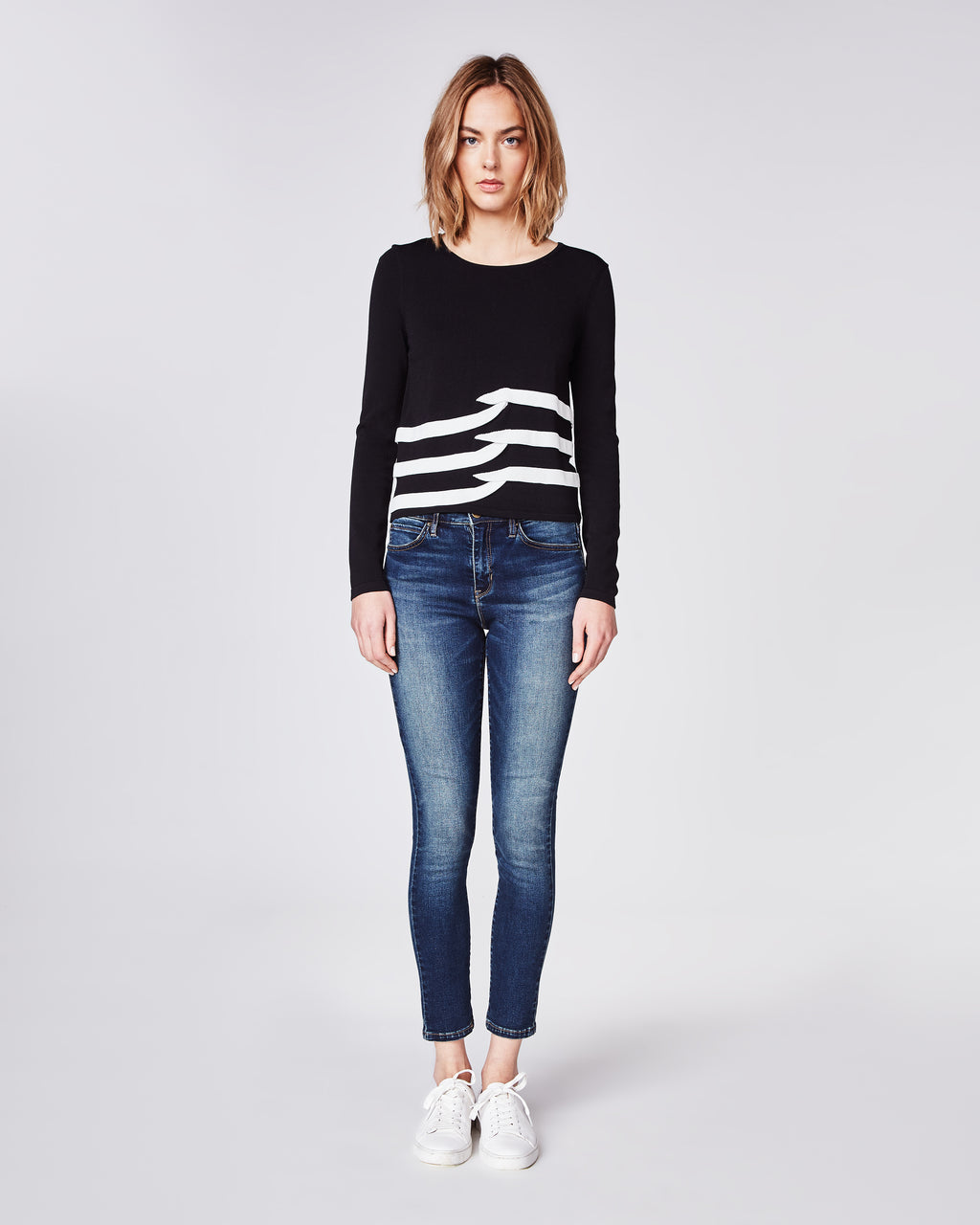 BH10373 - TIDAL PLEAT INTARSIA LONG SLEEVE TOP - tops - knitwear - This long sleeve top features contrasting tidal pleats for a flattering fit. Finished with a rounded neckline and unlined.