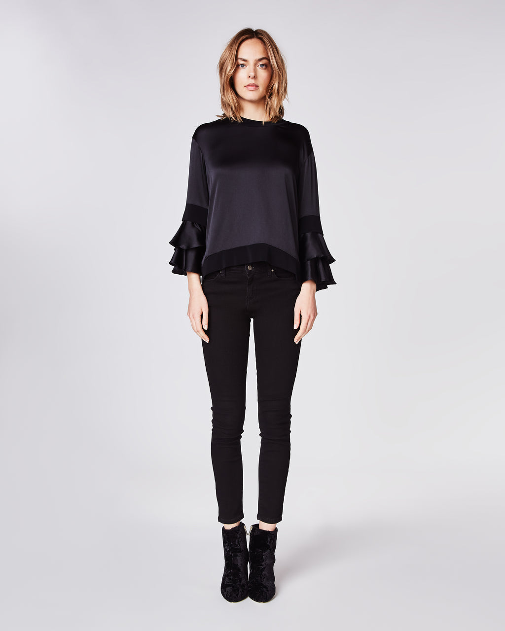 BH10380 - STRETCH CHARMEUSE RUFFLE SLeeve top - tops - shirts - In a silky charmeuse, this crewneck top features statement ruffle 3/4 length sleeves and is unlined.