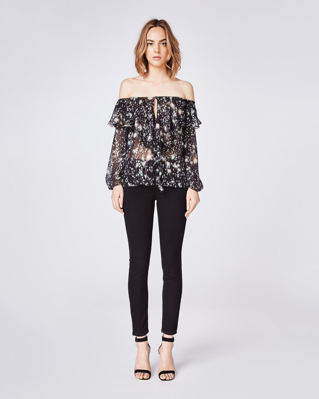 BH10393 - MIDNIGHT SKY OFF THE SHOULDER RUFFLE BLOUSE - tops - blouses - The season calls for festivities with this off the shoulder ruffle party blouse. It has the perfect amount of silky drapiness with printed midnight sky accents. Fitted around shoulders with elactic and botton front closure.