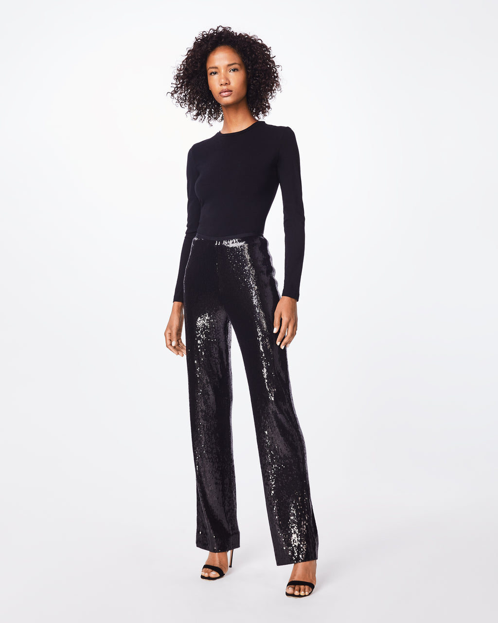 BH10394 - SEQUIN HIGH WAISTED PANT - bottoms - pants - These high waisted, sequined pants feture a center back concealed zipper for a flattering fit. It pairs perflectly with a silk blouse. Final Sale