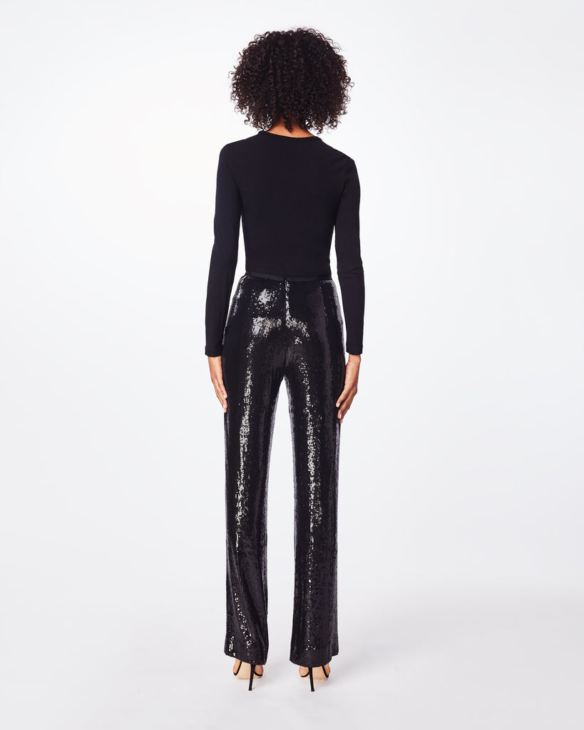 BH10394 - SEQUIN HIGH WAISTED PANT - bottoms - pants - These high waisted, sequined pants feture a center back concealed zipper for a flattering fit. It pairs perflectly with a silk blouse. Alternate View
